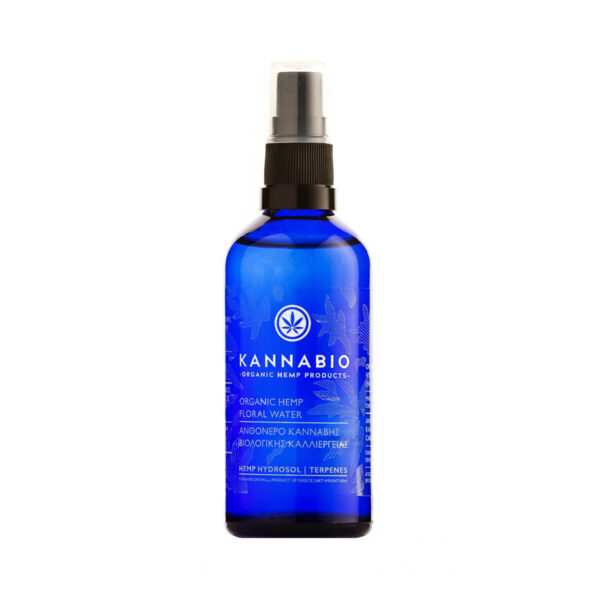 Blue Bottle of Kannabio Brand organic water