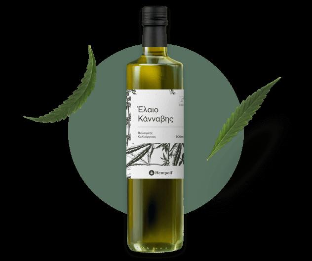 Raw hempseed oil bottle.