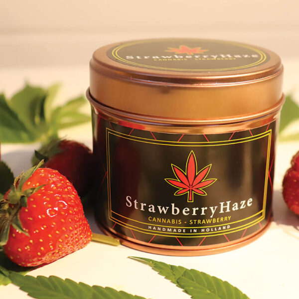 Cannacandle cannabis candle with strawberry scent