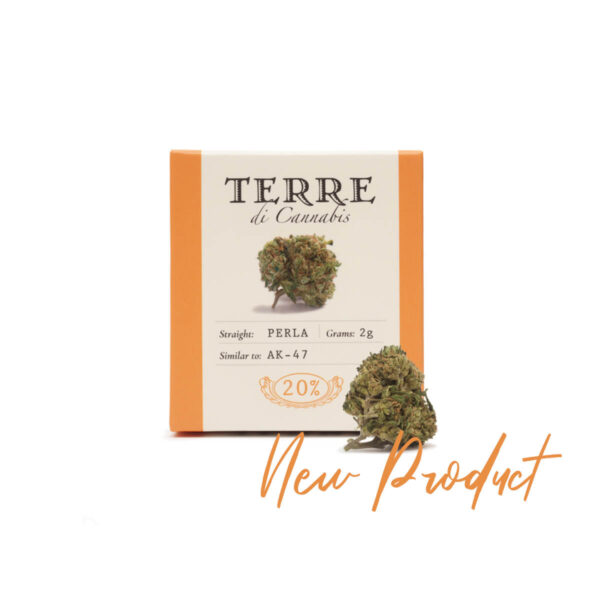Packaging of Hemp Cannabis Flowers Terre Di Cannabis Perla with 20% CBD