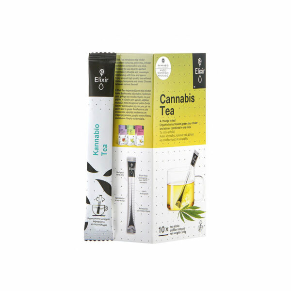 ELIXIR TEA | KANNABIO - 10 sticks in a carton box. Cannabis and Green Tea with Cannabidiol