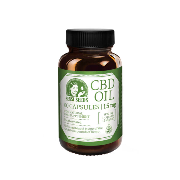 Sensi Seeds CBD Oil Capsules 900mg – 60 Capsules on semi transparent bottle packaging.