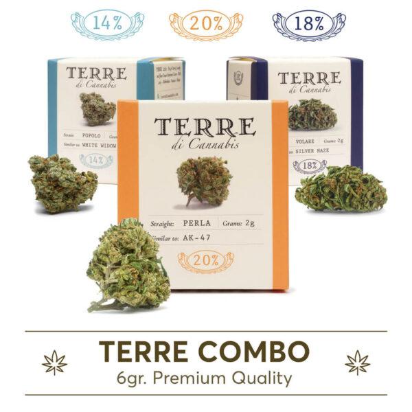 Ανθοι κάνναβης CBD σε combo από την Terre Di Cannabis. Perla, Volare, Popolo 2γρ.